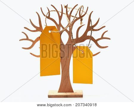 Tree With Yellow Shopping Tag Isolated On White, Copy Space