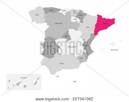 Map of Spain devided to 17 administrative autonomous communities with pink highlighted Catalonia region. Simple flat vector map in shades of grey.