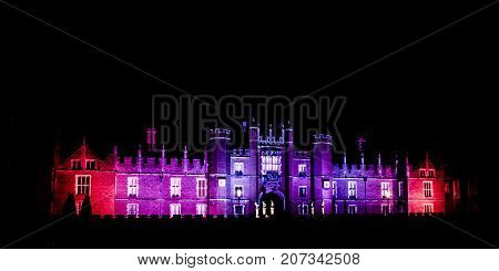 LONDON, UK - DECEMBER 12: Picture of Hampton Court Palace illumination on December 12, 2016 in London, UK
