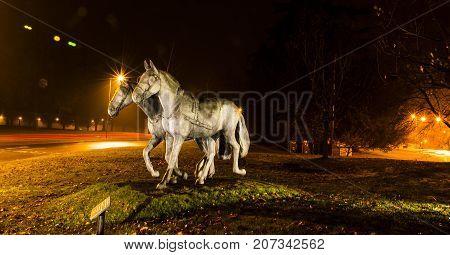 WINDSOR, UK - DECEMBER 6: Picture of Royals' favorite horses  statue by night on December 6, 2016 in Windsor, UK