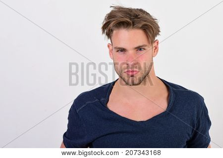Macho With Confident Face And Bristle. Masculinity And Confidence