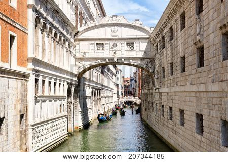 The Bridge of Sighs, a romantic symbol of the city of Venice in Italy