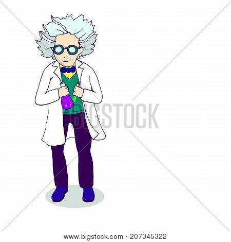 Hand drawing cartoonish bright character, mad scientist conducting experiments, sketch style, funny chemist with gray hair, big round glasses, in white coat, isolated background. Vector illustration.