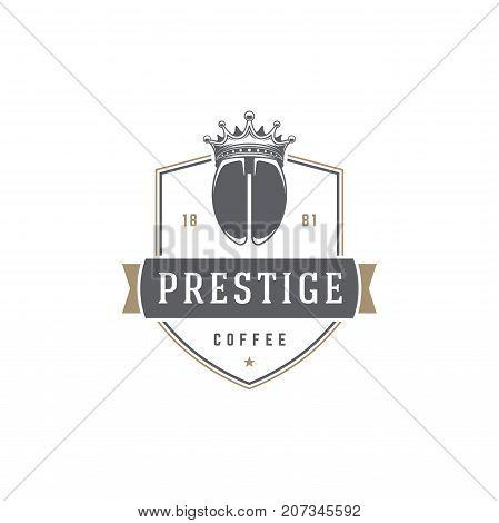 Coffee Shop Logo Template. Bean Silhouette Isolated On White Background. Vector object for Labels, Badges, Logos Design. Coffee Logo, Bean Logo, Coffee Bean Symbol, Retro Logo, Bean Icon