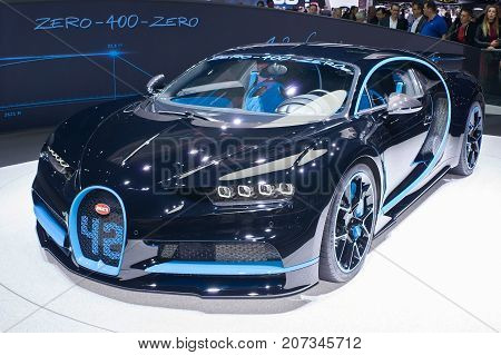 Frankfurt-September 20: Bugatti Chiron 42 seconds edition at the Frankfurt International Motor Show on September 20 2017 in Frankfurt