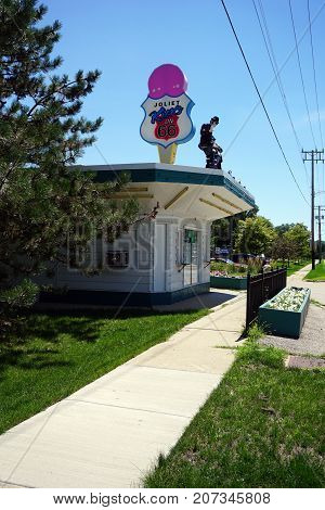 JOLIET, ILLINOIS / UNITED STATES - JULY 25, 2017: One may buy ice cream at the Rich and Creamy on Broadway, in the Route 66 Park.