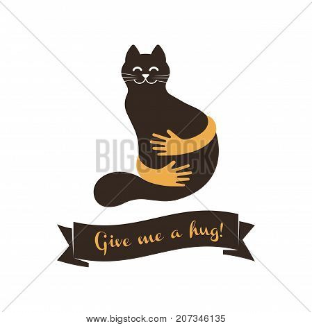 Give me a hug ribbon and cat with hands vector illustration. Hands with cat silhouette logo. Pets care vector logo template. Cat logo vector concept