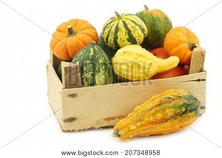 colorful decorative pumpkins in a wooden crate on a white background