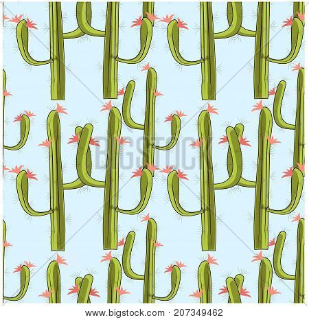 Seamless blooming green cactus with red flowers on blue stock vector illustration