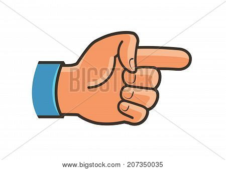 Pointing hand symbol. Forefinger, index finger, gesture label or icon. Cartoon vector illustration isolated on white background