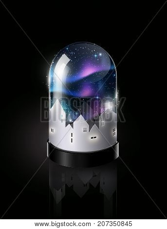 Aurora Borealis sky and town paper cut style in glass dome, Isometric view, vector illustration