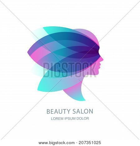 Female profile silhouette in abstract butterfly wings. Vector logo emblem label design. Womens face in pink flower leaves. Concept for beauty salon makeup cosmetic cosmetology procedures and spa.