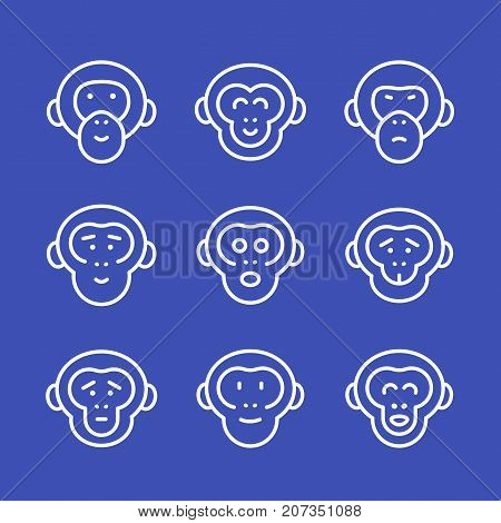 apes line icons set, eps 10 file, easy to edit