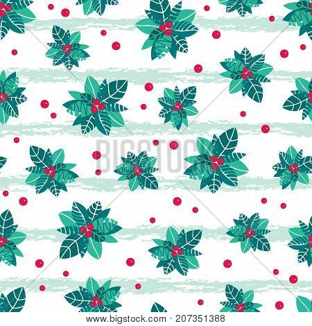 Vector holly berry grunge stripes holiday seamless pattern background. Great for winter themed packaging, giftwrap, gifts projects. Surface pattern print design.