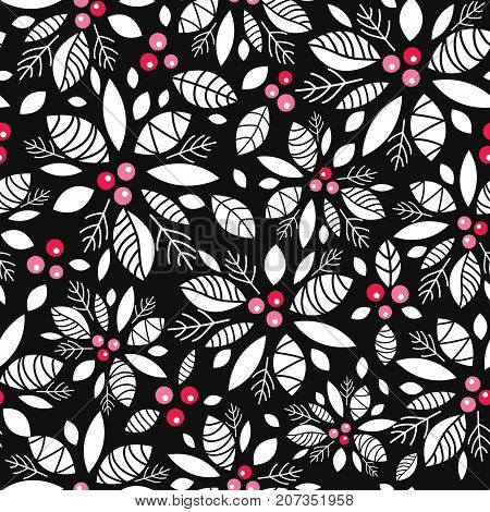 Vector holly berry black, white, red holiday seamless pattern background. Great for winter themed packaging, giftwrap, gifts projects. Surface pattern print design.