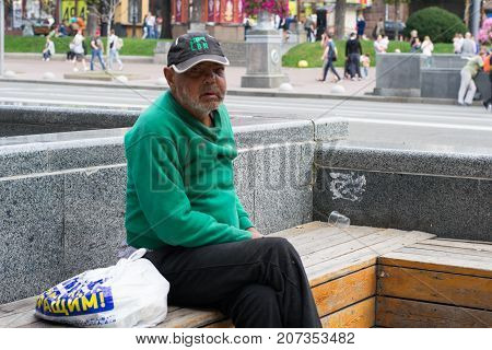 UKRAINE KIEV - SEPTEMBER 24 2017: Homeless on the main street. The problem of homeless people living on the streets of big cities.