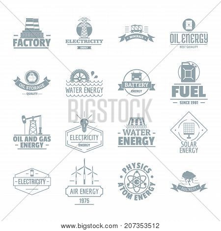 Energy sources logo icons set. Simple illustration of 16 energy sources logo vector icons for web
