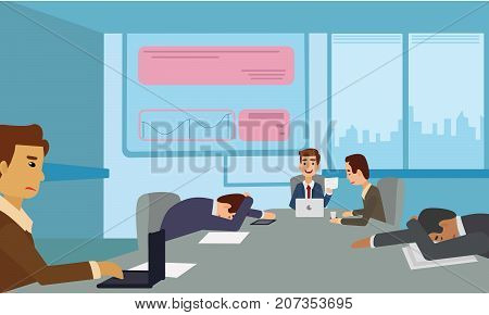 Bored and tired business team sleeping at presentation in office. Business People taking nap at conference illustration vector. poster