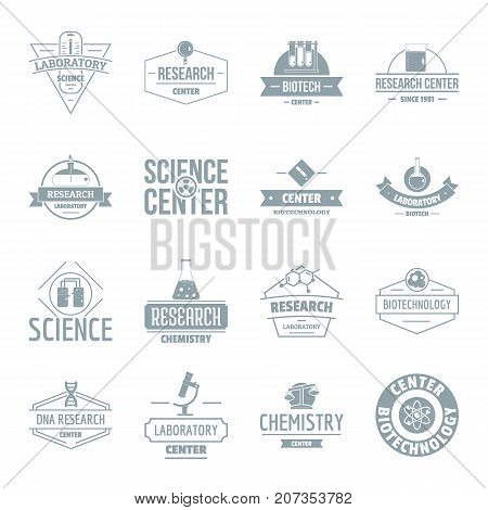 Chemical science logo icons set. Simple illustration of 16 chemical science logo vector icons for web