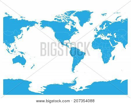 Blue World map. High detail America centered political map. Vector illustration.