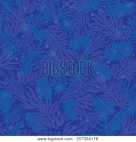 Vector dark blue frost pine branches seamless pattern background. Great for winter holiday fabric, packaging, giftwrap projects. Textile pattern design.