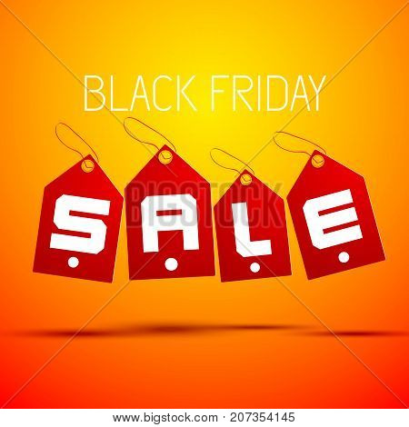 Red isolared black friday tag set combined in word sale with shadows on orange background vector illustration