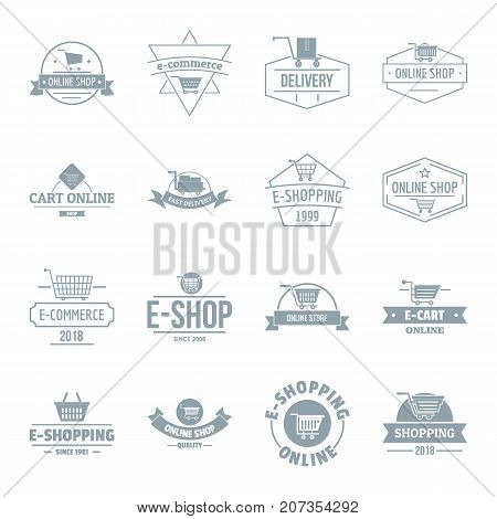 Shopping logo icons set. Simple illustration of 16 shopping logo vector icons for web