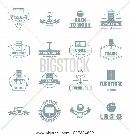 Office furniture logo icons set. Simple illustration of 16 office furniture logo vector icons for web