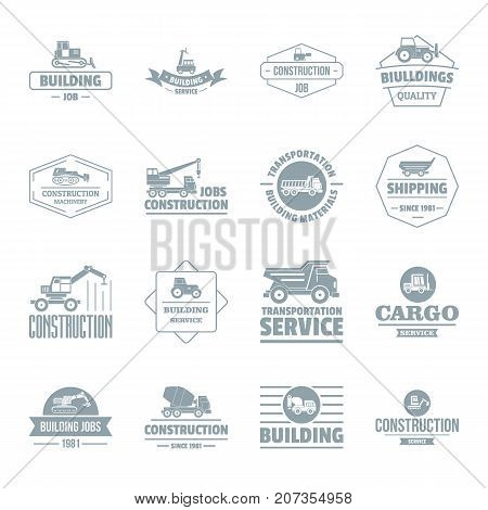 Building vehicles logo icons set. Simple illustration of 16 building vehicles logo vector icons for web