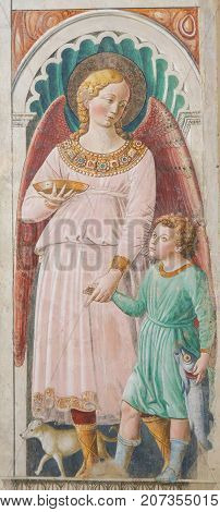 Fresco In San Gimignano, Italy - Angel And The Child Jesus