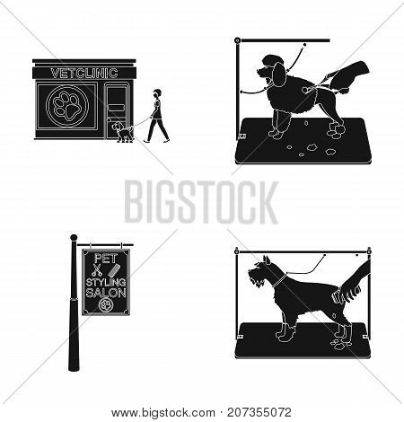 Visiting a vet clinic, a signboard of a stylish salon for a pet, a haircut of dogs. Vet clinic and pet, dog care set collection icons in black style vector symbol stock illustration .