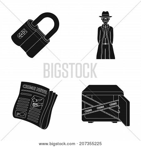 Coded lock, the appearance of the detective, a newspaper with criminal news, a hacked safe. Crime and detective set collection icons in black style vector symbol stock illustration .