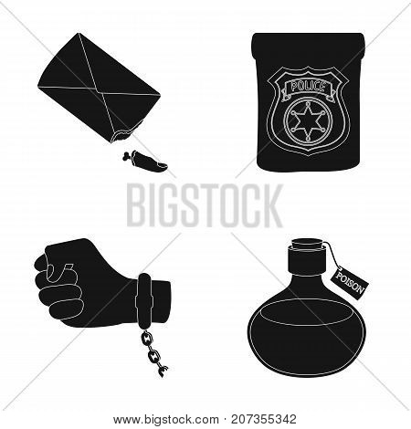 The detective's badge, the handcuff on the criminal's hand, the stump of the finger in the bag, the flask with the poison. Crime and detective set collection icons in black style vector symbol stock illustration .