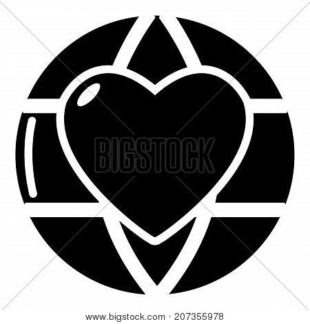 Planet heart icon. Simple illustration of planet heart vector icon for web