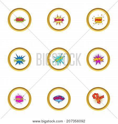 Explosive stickers icons set. Cartoon style set of 9 explosive stickers vector icons for web design