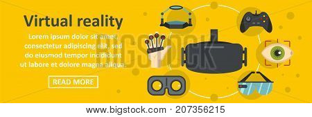 Virtual reality banner horizontal concept. Flat illustration of virtual reality banner horizontal vector concept for web design