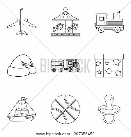 Hobby of the teenager icons set. Outline set of 9 hobby of the teenager vector icons for web isolated on white background
