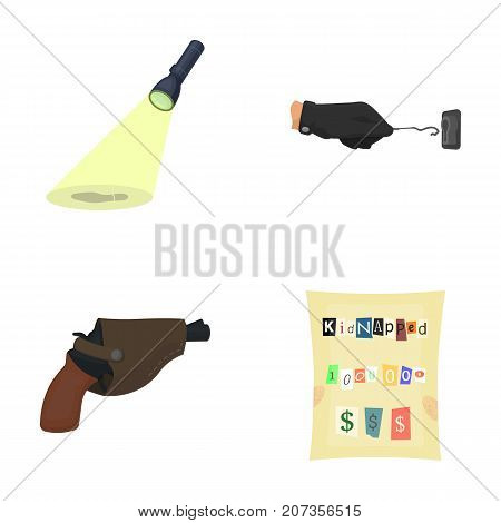 The detective's flashlight illuminates the footprint, the criminal's hand with the master key, a pistol in the holster, the kidnapper's claim. Crime and detective set collection icons in cartoon style vector symbol stock illustration .
