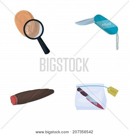 A fingerprint study, a folding knife, a cigar detective, a crime weapon tool in the package. Crime and detective set collection icons in cartoon style vector symbol stock illustration .