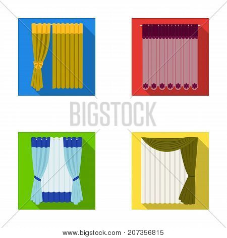 Curtains, drapes, garters, and other  icon in flat style. Textiles, furniture, bow icons in set collection