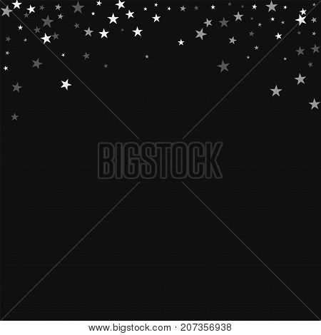 Random Falling Stars. Abstract Top Border With Random Falling Stars On Black Background. Brilliant V