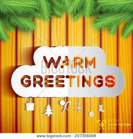 Christmas greeting template with paper decorative elements green fir twigs on wooden background vector illustration