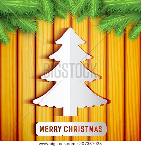 Merry Christmas decorative template with paper tree fir twigs on wooden background vector illustration