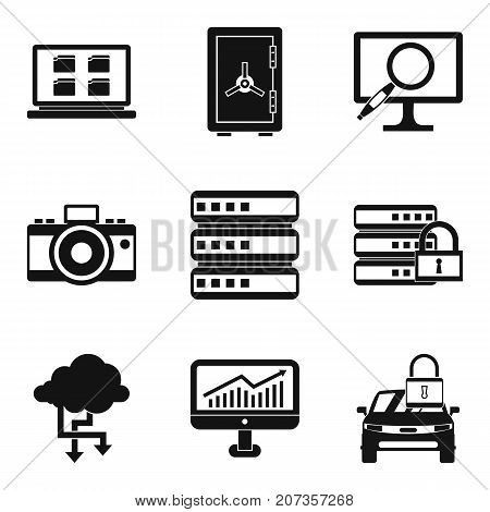 Saving a movie icons set. Simple set of 9 saving a movie vector icons for web isolated on white background