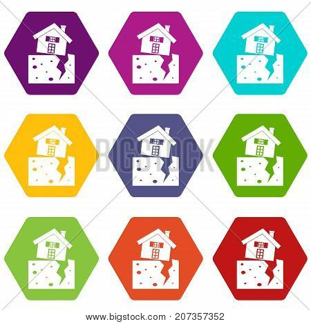 House after an earthquake icon set many color hexahedron isolated on white vector illustration