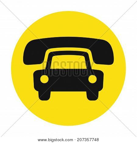Taxi cab service icon, cause a car by phone symbol, order taxi vector illustration