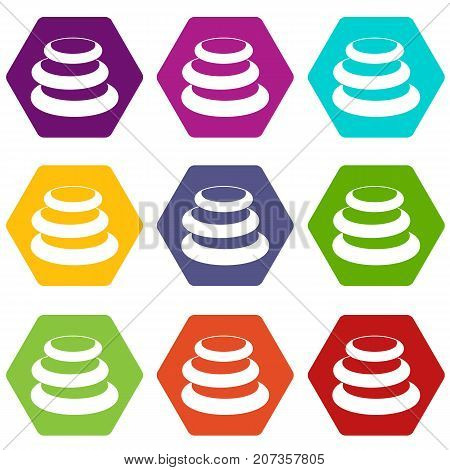 Stack of basalt balancing stones icon set many color hexahedron isolated on white vector illustration
