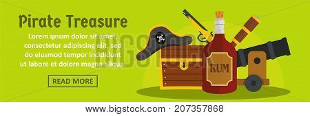 Pirate treasure banner horizontal concept. Flat illustration of pirate treasure banner horizontal vector concept for web design