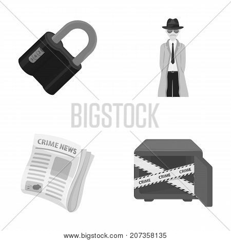 Coded lock, the appearance of the detective, a newspaper with criminal news, a hacked safe. Crime and detective set collection icons in monochrome style vector symbol stock illustration .