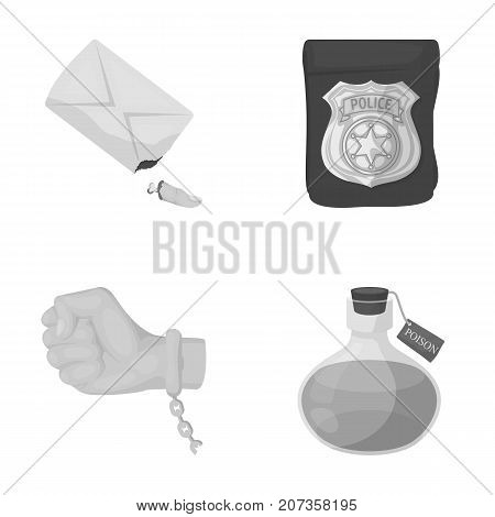 The detective's badge, the handcuff on the criminal's hand, the stump of the finger in the bag, the flask with the poison. Crime and detective set collection icons in monochrome style vector symbol stock illustration .